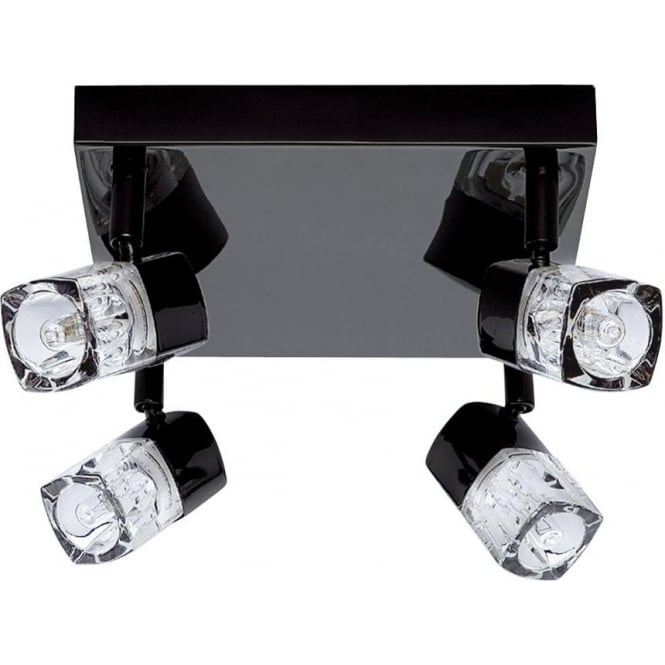 Searchlight 7884BC Blocs 4 Light Ceiling Spotlight Black Chrome