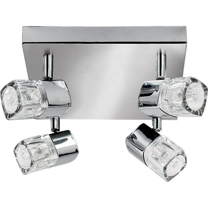 Searchlight 7884CC-LED Blocs 4 Light Ceiling Spotlight Polished Chrome