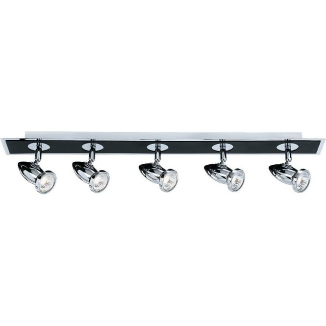 Searchlight 7495 Comet 5 Light Ceiling Spotlight Polished Chrome Black