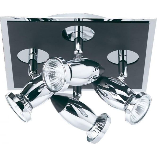 Searchlight 7494 Comet 4 Light Ceiling Spotlight Polished Chrome Black