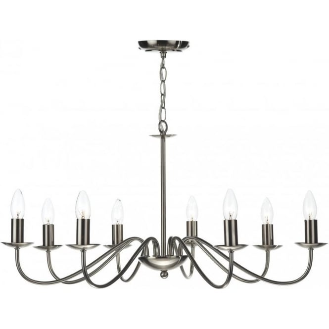 Dar IRW0846 Irwin 8 Light Ceiling Light Satin Chrome