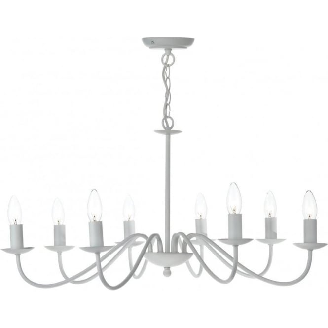 Dar IRW0802 Irwin 8 Light Ceiling Light White