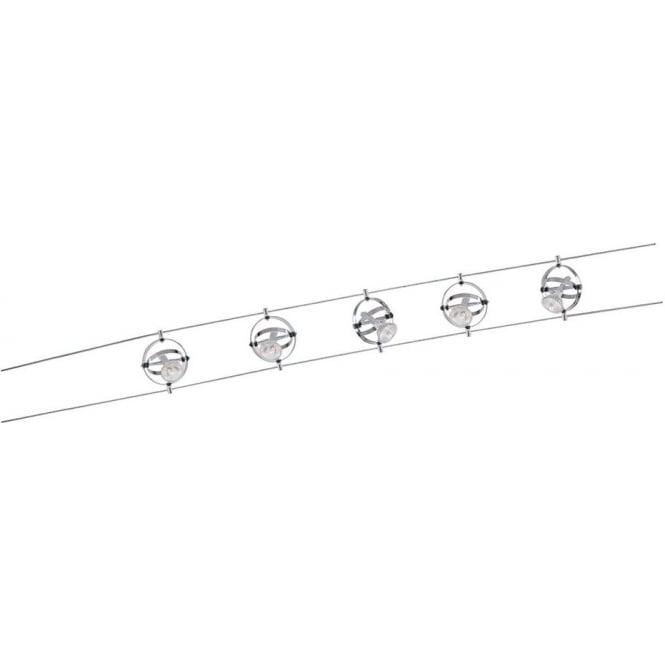 Searchlight 5601-05-LED Cable Kits 5 Light Ceiling Light Polished Chrome