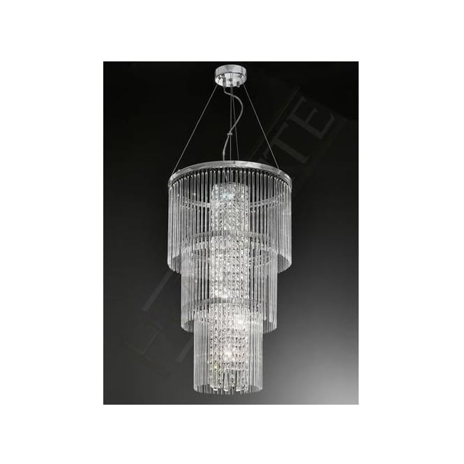 Franklite FL2310/6 Charisma 6 Light Crystal Ceiling Pendant Polished Chrome