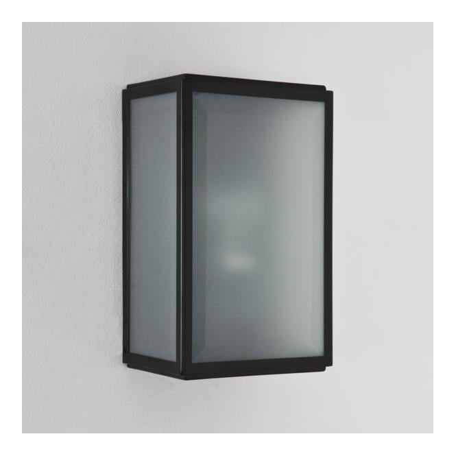Astro 7266 Homefield Sensor 1 Light Outdoor Wall Light Black Frosted Glass IP44