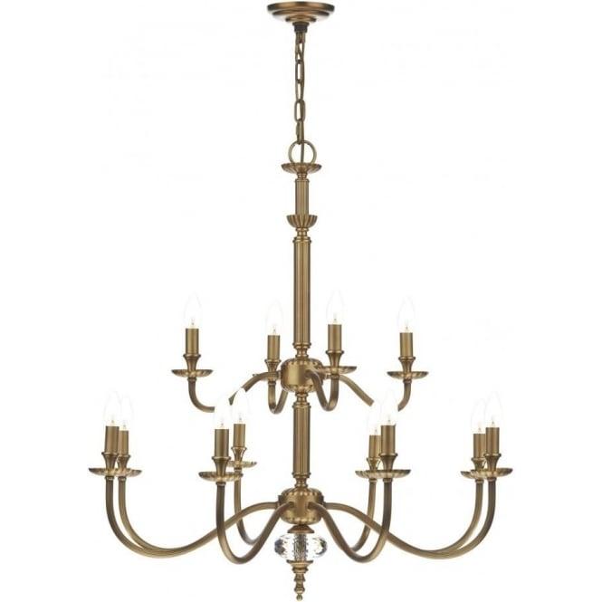 Dar ATL1275/ATL0733 Atlanta 12 Light Ceiling Light Pale Antique Brass