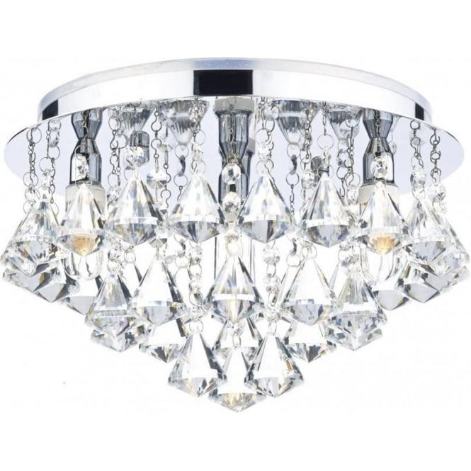Dar FRI0450 Fringe 4 Light Crystal Semi-Flush Ceiling Light IP44