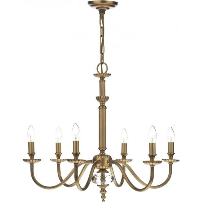 Dar ATL0675/ATL0733 Atlanta 6 Light Ceiling Light Pale Antique Brass