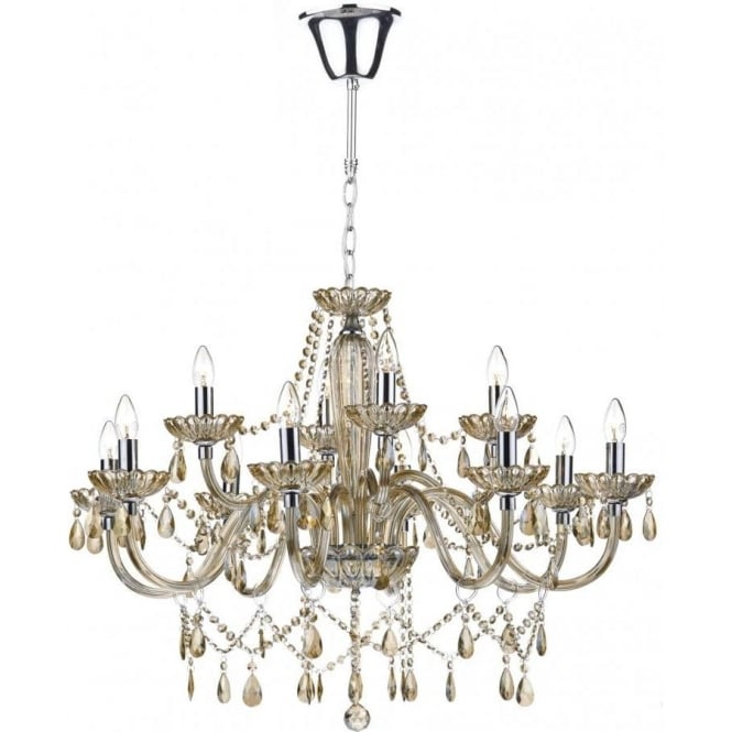 Dar RAP1206 Raphael 12 Light Ceiling Chandelier Champagne Glass