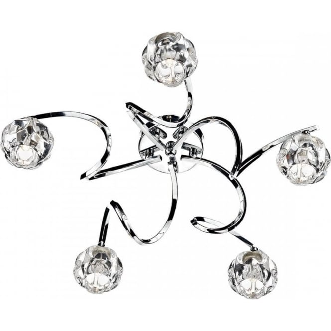Dar BAB5450 Babylon 5 Light Semi Flush Ceiling Light Polished Chrome