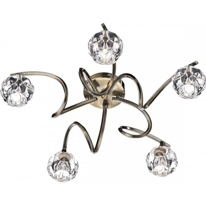 Dar BAB5475 Babylon 5 Light Semi Flush Ceiling Light Antique Brass