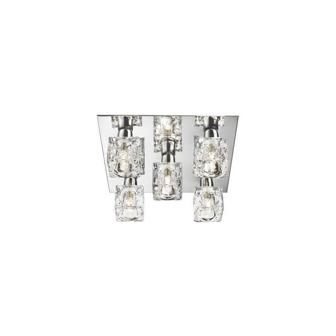 Searchlight 2275-5 Ice Cube 5 Light Flush Ceiling Light Polished Chrome