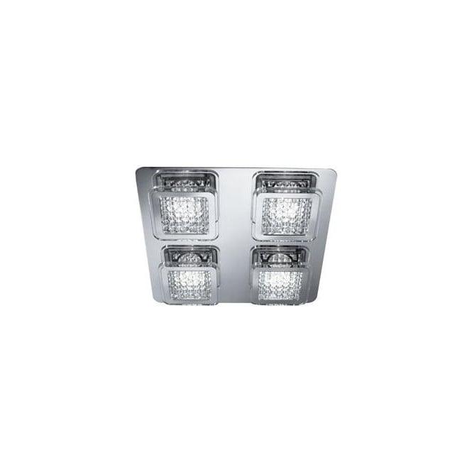 Searchlight 7324-4CC Quadrant 4 Light LED Flush Ceiling Light Polished Chrome