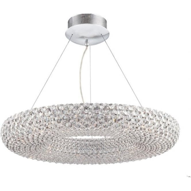 Dar MES2550 Messina 24 Light Crystal Pendant Polished Chrome