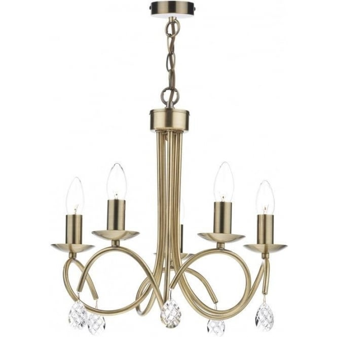 Dar NAD0575 Nadine 5 Light Ceiling Light Soft Gold