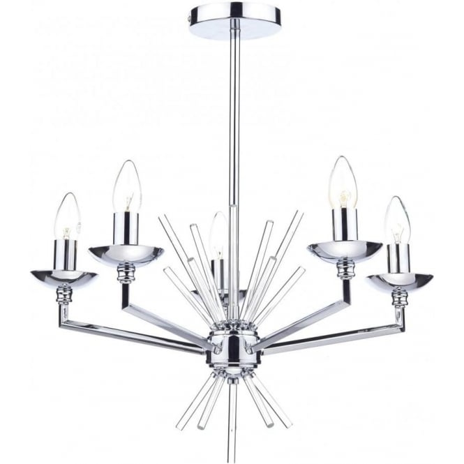 Dar NEP0550 Nepal 5 Light Ceiling Light Polished Chrome