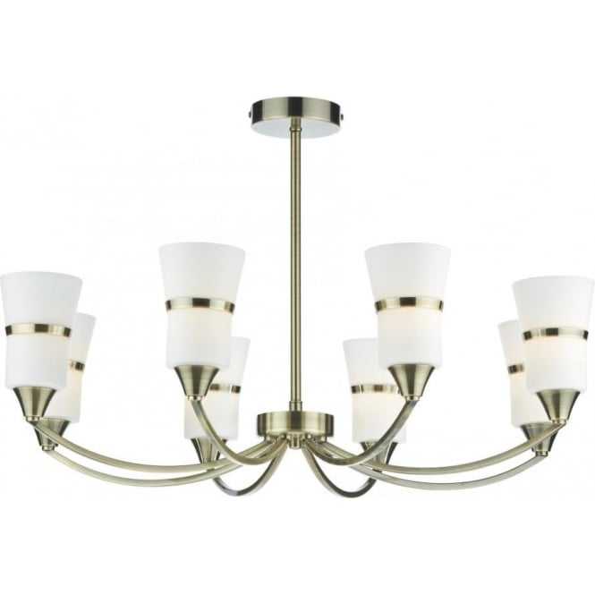 Dar DUB0875/LED Dublin 8 Light Ceiling Light Antique Brass