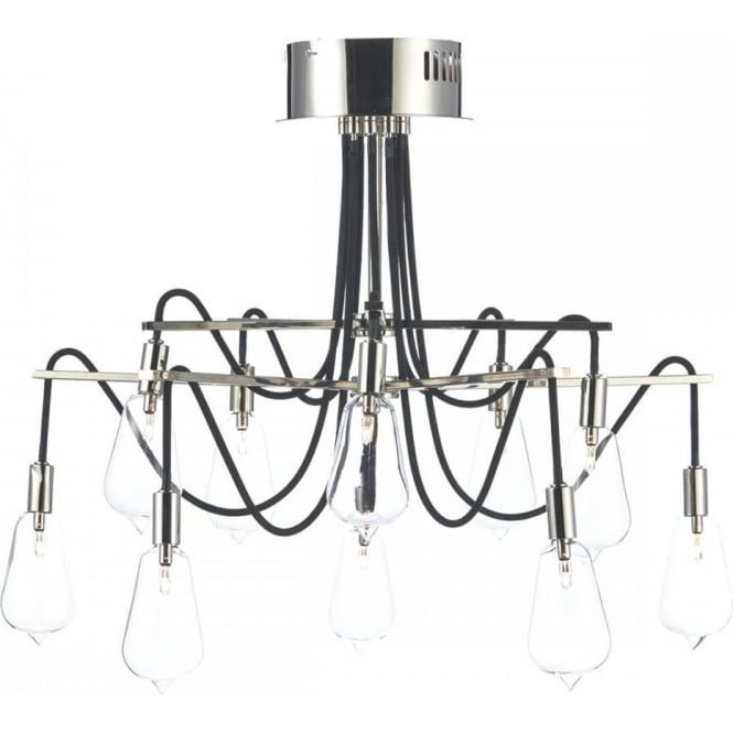 Dar SCR2338 Scroll 10 Light Ceiling Light Polished Nickel