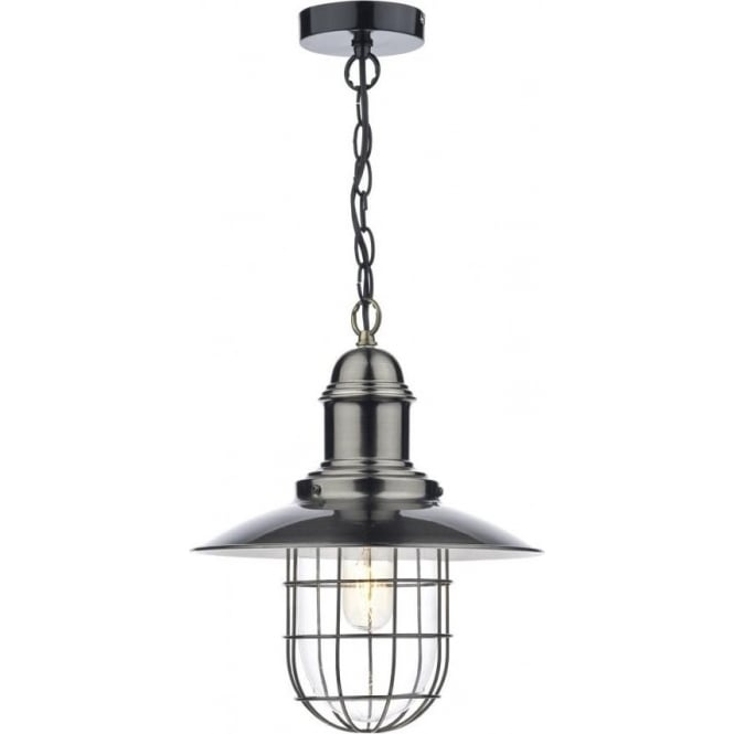 Dar TER0161 Terrace 1 Light Pendant Antique Chrome