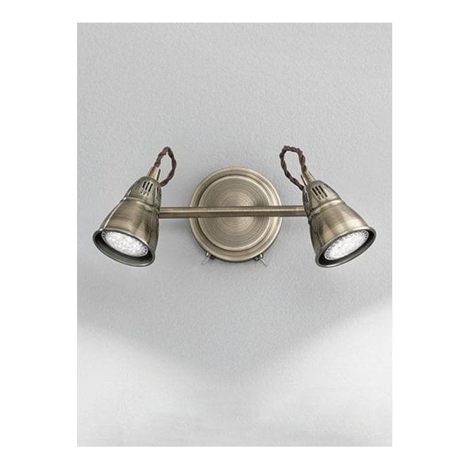 Franklite SPOT8952 Rustica 2 Light LED Switched Wall Spotlight Bronze