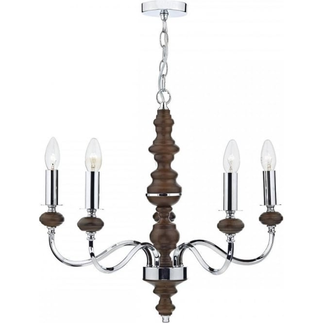 Dar WYA0547 Wyatt 5 Light Ceiling Light Polished Chrome/Dark Wood