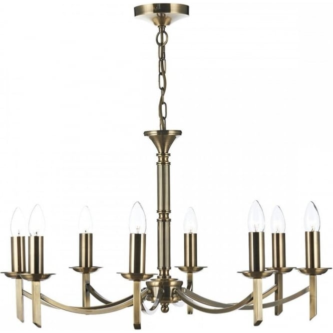 Dar AMB0875 Ambassador 8 Light Ceiling Light Antique Brass