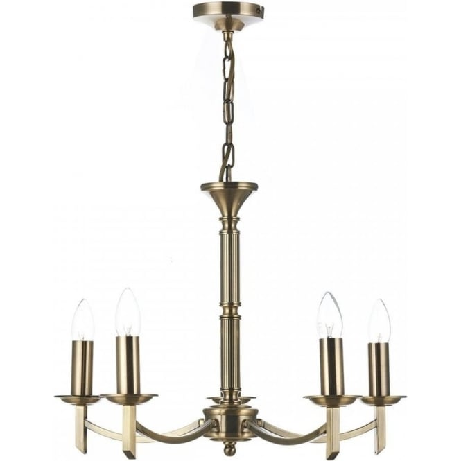 Dar AMB0575 Ambassador 5 Light Ceiling Light Antique Brass