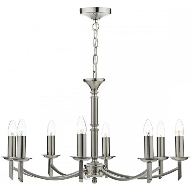 Dar AMB0846 Ambassador 8 Light Ceiling Light Satin Chrome