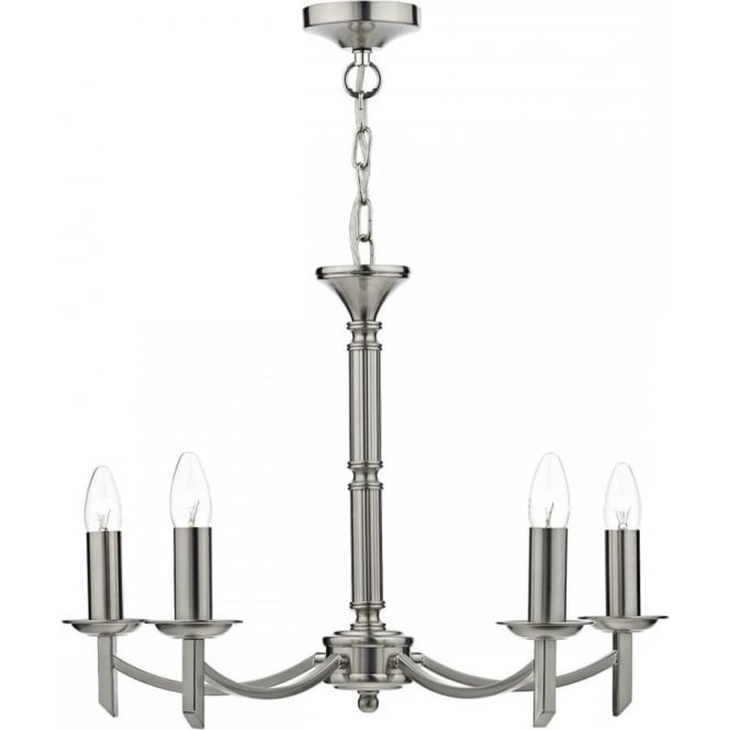 Dar AMB0546 Ambassador 5 Light Ceiling Light Satin Chrome