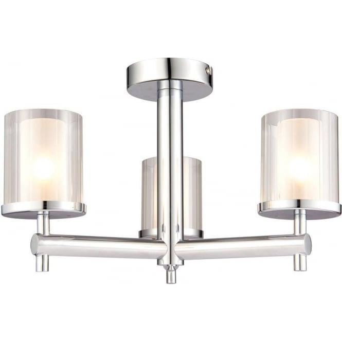 Endon 51886 Britton 3 Light Semi Flush Ceiling Light IP44 Chrome