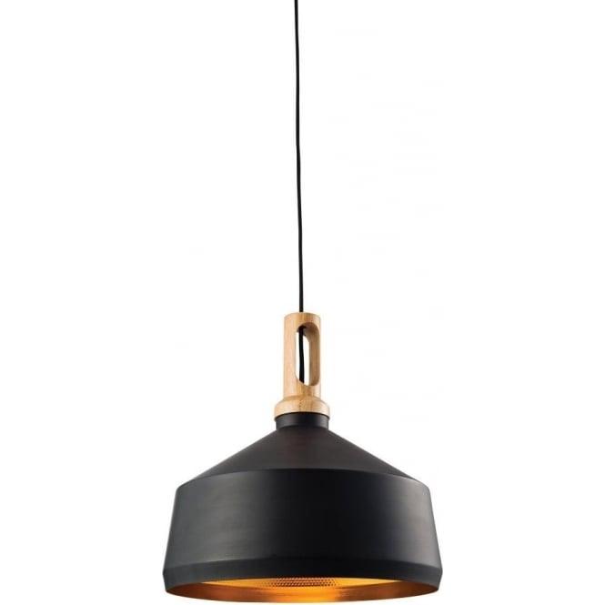 Endon 61347 Garcia 1 Light Ceiling Pendant Matt Black/Light Wood