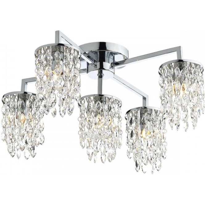 Dar NIA5450 Niagra 5 Light Semi-Flush Ceiling Light Polished Chrome