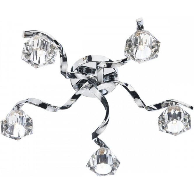 Dar ANC5450 Ancona 5 Light Semi-Flush Ceiling Light Polished Chrome