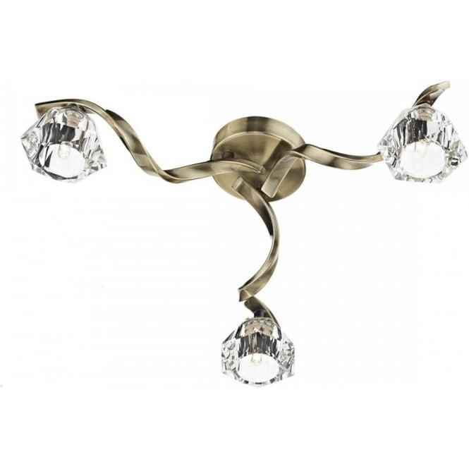 Dar ANC5375 Ancona 3 Light Semi-Flush Ceiling Light Antique brass