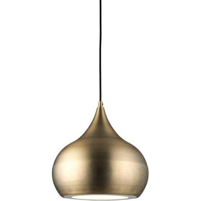 Endon 61299 Brosnan LED 1 Light Ceiling Pendant Matt Antique Brass
