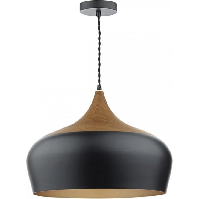 Dar GAU8622 Gaucho 1 Light Ceiling Pendant Matt Black (Large)