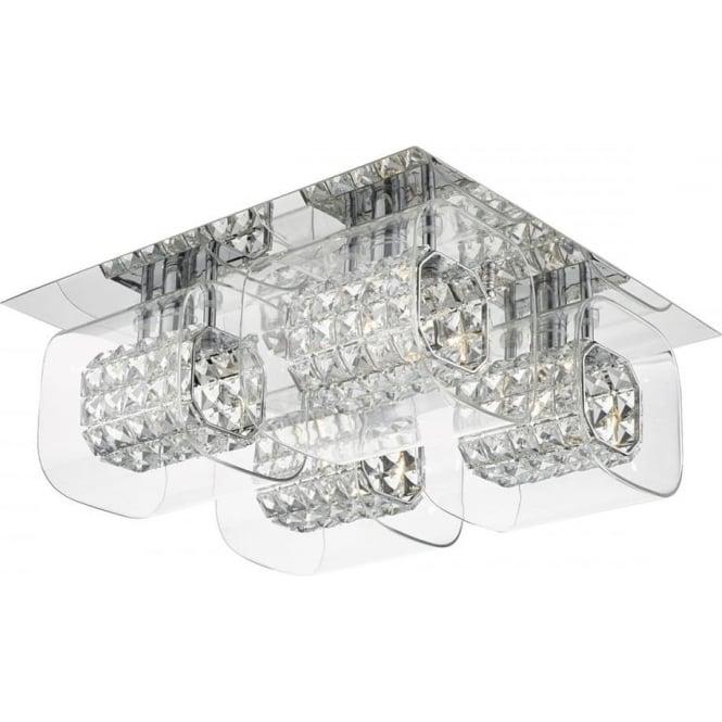 Dar KAB5050 Kabuki 4 Light Crystal Flush Ceiling Light Polished Chrome