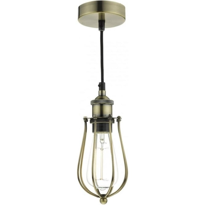 Dar TAU0175 Taurus 1 Light Ceiling Pendant Antique Brass