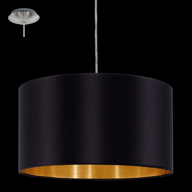 Eglo 31599 Maserlo 1 Light Pendant Glossy Black