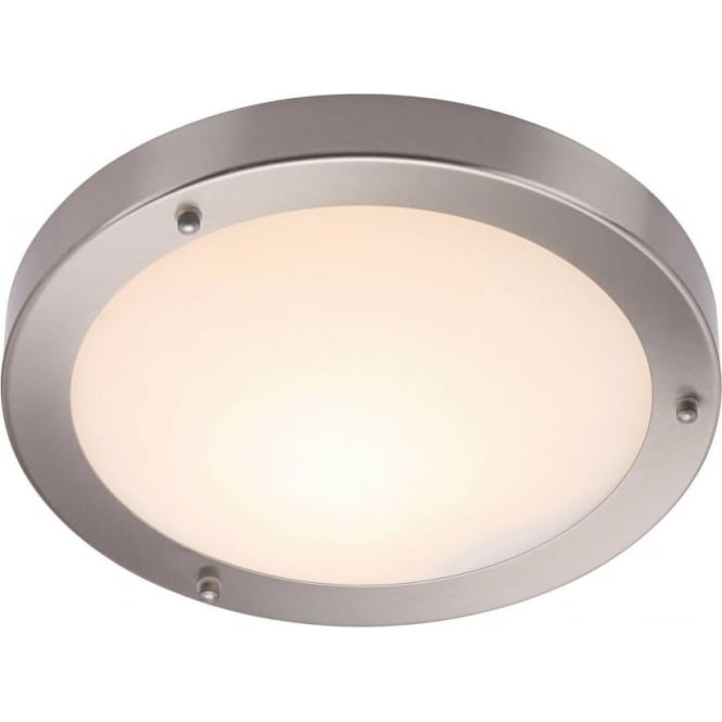 Endon 12421 Portico Flush Ceiling Satin Nickel IP44
