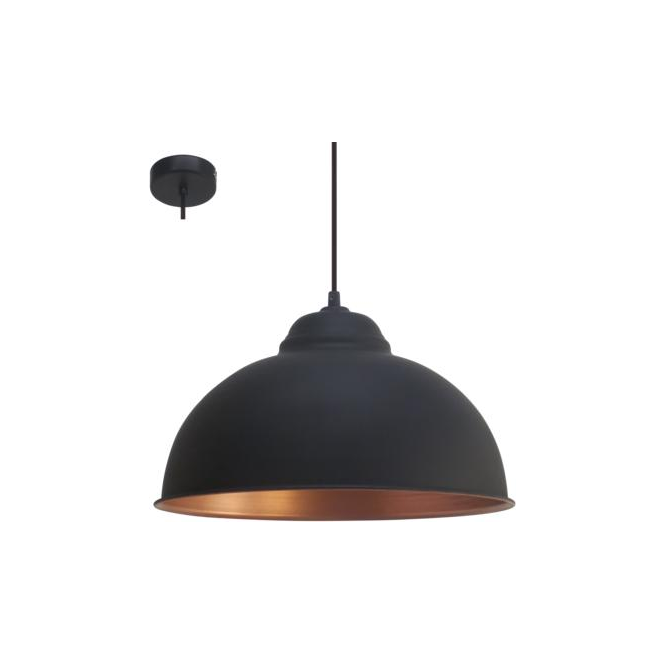 Eglo 49247 Truro2 1 Light Ceiling Pendant Black/Copper