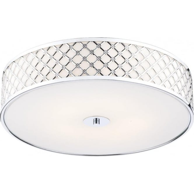 Dar CIV5250 Civic 2 Light Flush Ceiling Light Polished Chrome