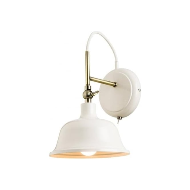 Endon 60842 Laughton 1 Light Switched Wall Light Cream/Antique Brass