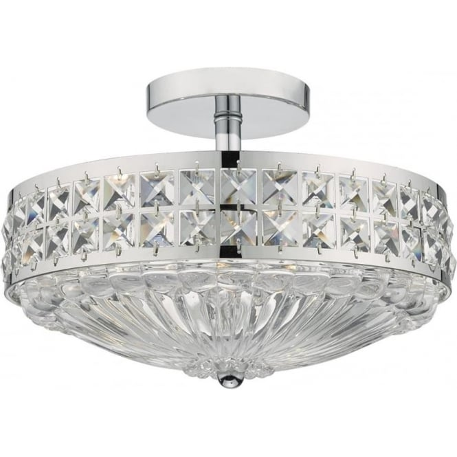 Dar OLO5350 Olona 3 Light Semi Flush Ceiling Light Polished Chrome