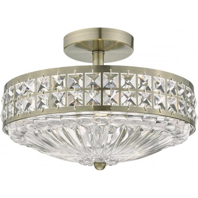 Dar Dar OLO5375 Olona 3 Light Semi Flush Ceiling Light Antique Brass