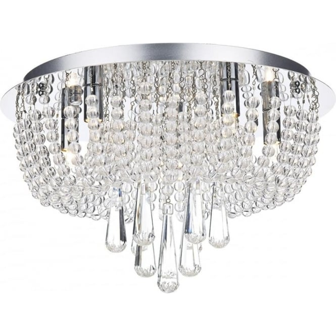 Dar SAI5450 Saigon 5 Light Semi-Flush Crystal Ceiling Light Polished Chrome