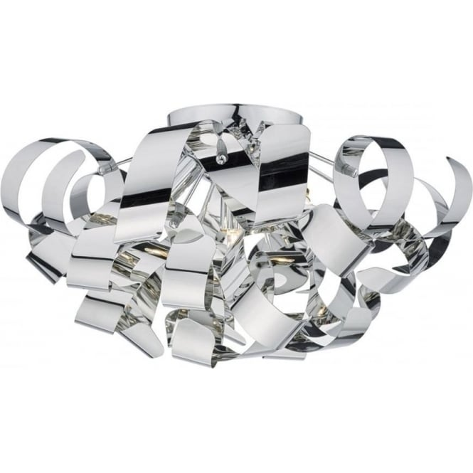 Dar RAW0555 Rawley 5 Light Flush Ceiling Light Polished Chrome