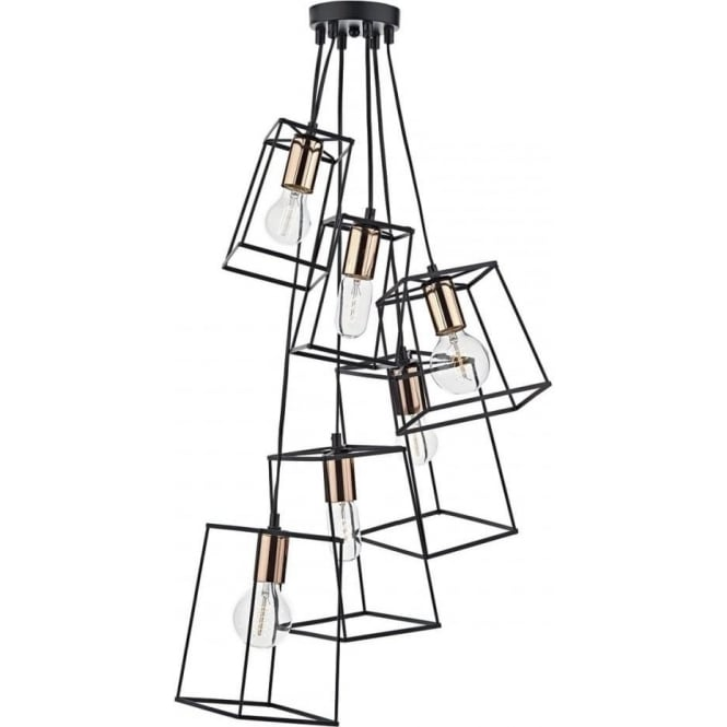 Dar TOW0622 Tower 6 Light Cluster Pendant Black and Copper