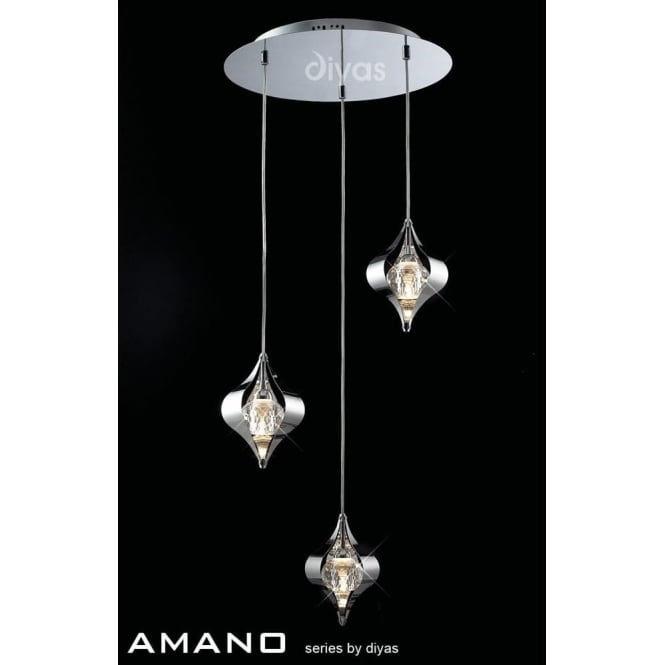 Diyas IL30584 Amano 3 Light Ceiling Pendant Polished Chrome