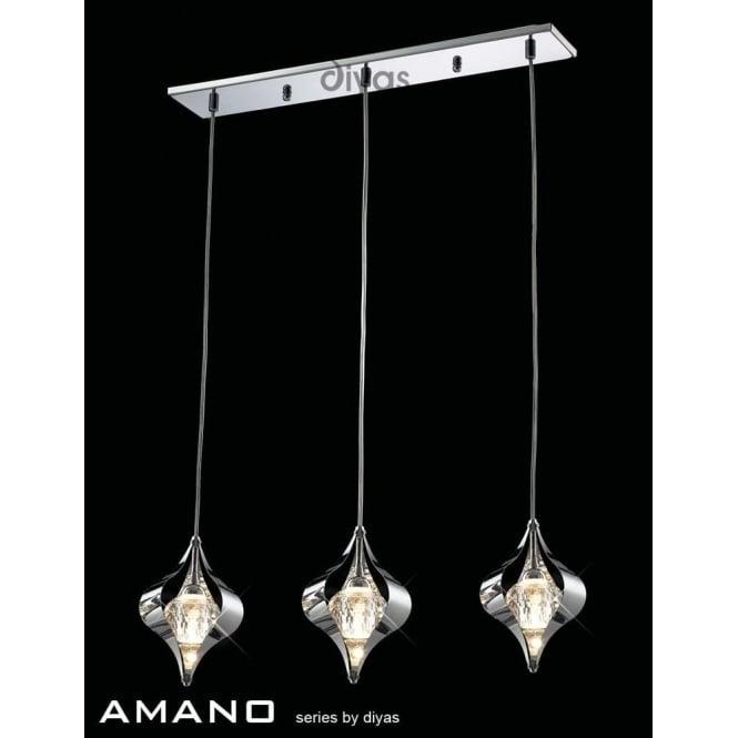 Diyas IL30583 Amano 3 Light Ceiling Pendant Polished Chrome